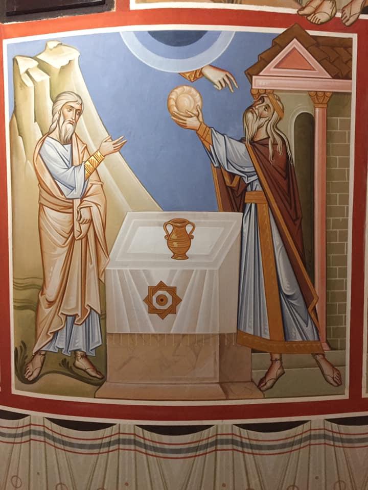 """Intanto Melchìsedek, re di Salem, offrì pane e vino: era sacerdote del Dio altissimo e benedisse Abram con queste parole: """"Sia benedetto Abram dal Dio altissimo, creatore del cielo e della terra, e benedetto sia il Dio altissimo (Genesi, 14, 18-20a)"""