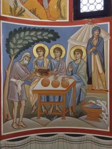 Poi il Signore apparve a lui alle Querce di Mamre, mentre egli sedeva all'ingresso della tenda nell'ora più calda del giorno. Egli alzò gli occhi e vide che tre uomini stavano in piedi presso di lui (Genesi 18, 1-2) TRES VIDIT, UNUM ADORAVIT